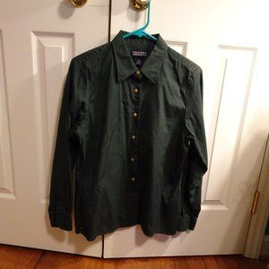 Lands End Women's Olive Long Sleeve Blouse M10-12